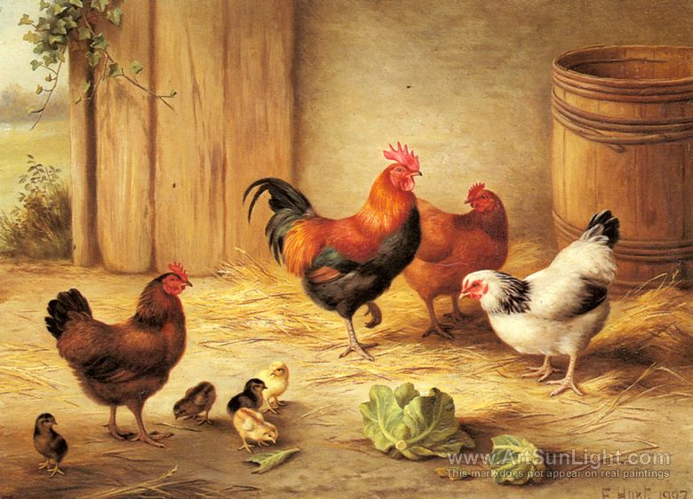 chickens-in-a-barnyard-by-Edgar-Hunt-003